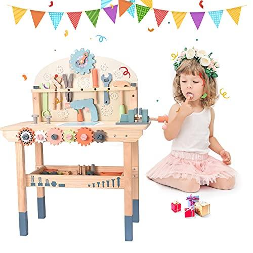 GJCrafts Banco de Trabajo de Madera para niños, con cajones, Martillo, Llave Inglesa Banco Herramientas Infantil Adecuado para niños niñas de 3 4 5 años