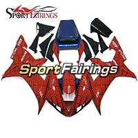 Sportfairings外装部品適応モデルオートバイABSフェアリングキットは YZF1000 2002 2003 ヤマハ R1 02 03 に適合 プラスチック製の完全なボディカバーシェル赤と青