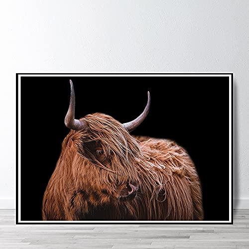 Carteles e impresiones de vaca de las tierras altas decoración del hogar arte de pared de vaca decoración de guardería sala de estar pintura de lienzo escandinavo 40x50cm