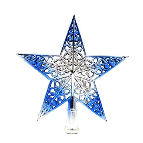 Ikevan Christmas Tree Toppers Hollowed-out Star Treasures Glittered Home Ornament-Christmas Holiday Decor 8 inch (Blue)