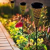 JeeYee 2 Pack Solar Lights Outdoor Garden Decorative , Flower Pattern Waterproof Pathway Lighting Landscape Path Lights for Patio, Yard Lawn Decor