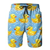 SARA NELL Funny Rubber Duck Mens Swim Trunks,Vintage Summer Surf Board Shorts Quick Dry Beach Shorts with Mesh Lining Pants,XXL White