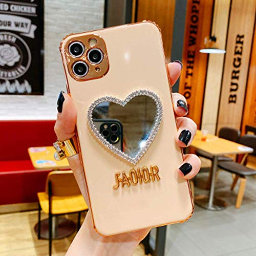 Bling Heart Shaped Mirror Phone Case, Makeup Mirror Mobile Phone Case for iPhone 11 Tender Pink
