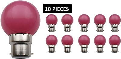 JCKing(Pack of 10)B22dゴルフボールビール庭照明灯パティオ党クリスマス用色付き電球 - ピンク