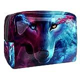 Bolsa de Maquillaje Bolsas de Aseo Organizador de cosméticos Bolsa con Cremallera para Mujer Lobo Animal