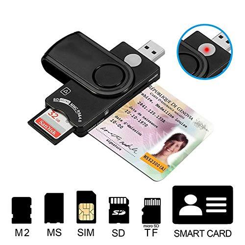 ZHFF USB 2.0 Kartenleser, Telefonkarte Telefon-Speicherkarte Multi-Function für MS M2 SIM Micro SD TF CF Smart Card Readers Computer-Microsd