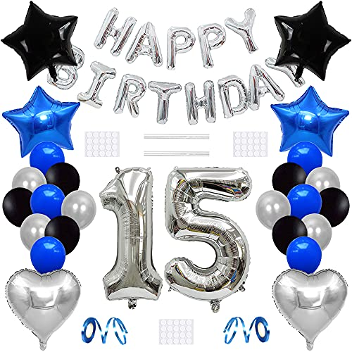 Xihuimay Globos para decoración de cumpleaños de 15 años, globos de helio con número 15, globos de látex con forma de corazón, color negro, plateado y azul