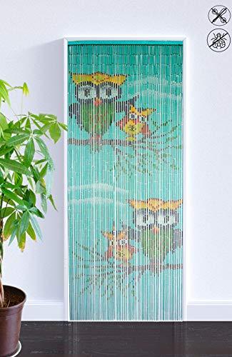 ABC Home Living Türvorhang ✔ Insektenschutz ✔ Fliegenschutz ✔ Raumteiler, Bambus, Blau, 90 x 200 cm