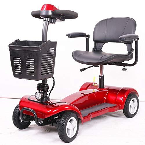 4 ruedas Mobility Scooter - Dispositivo de silla de ruedas eléctrico - Compacto de trabajo pesado móvil para viajes, adultos, ancianos - batería extendida de potencia de largo alcance con cargador y c