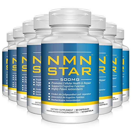 2020 Anti-Aging Champion,Ultra High Purity NMN Nicotinamide Mononucleotide Supplement, 500mg Capsule, Stabilized Form, Naturally Boost NAD+ Levels for Cellular Repair, 60 Count (1pack) (8pack)
