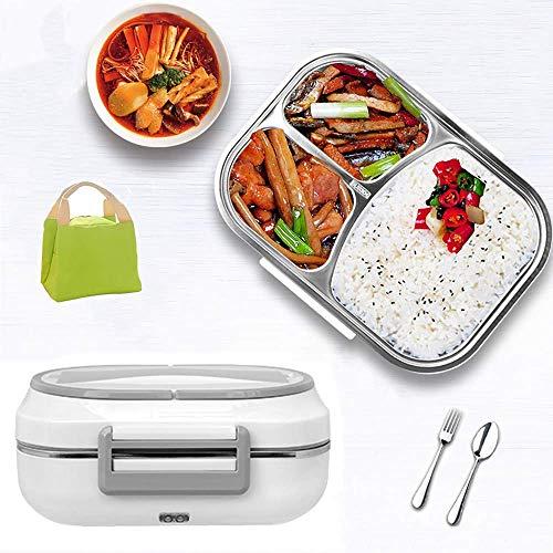 ZXD Lunch Box Elettrico per Auto,Scalda Vivande Portatile Elettrico Auto,Scatola per Posate Integrata,Custodia in Plastica ABS,per Picnic E Viaggio,Grigio,220V/24V