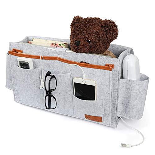 SAEKOR Large Felt Bedside Caddy Organizer Heavy Duty Bedside Storage Bag Water Bottle Holder Phone Household Sofa Books Remote