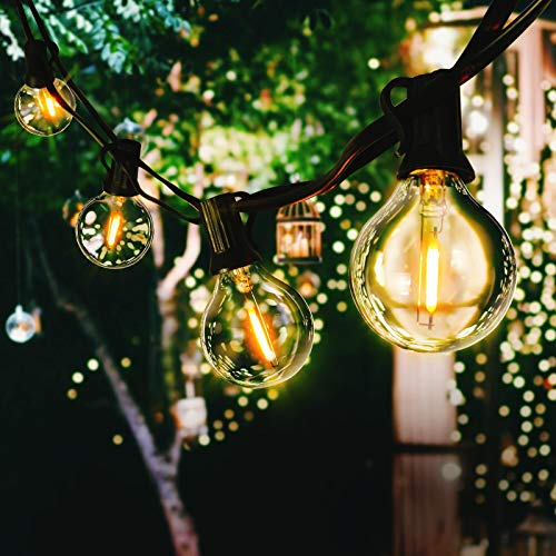 LED Outdoor String Lights with Plastic Bulbs, AVANLO Upgrade 51.2FT Garden Patio String Lights Outdoor Festoon Lights with 50+4 E12 Bulbs for Indoor & Outdoor Décor Wedding Patio Cafe Party
