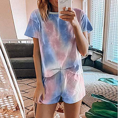 New Fashion Womens Short pyjama Set Tie Dye Printed 2 stuks Casual Lounge nachtkleding nachtkleding