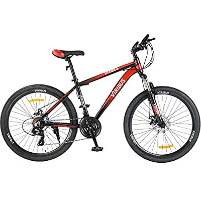 """Viribus Adult Mountain Bike with 26 Inch Wheel Derailleur Lightweight Sturdy Aluminum Frame Bicycle with Dual Disc Brakes Front Suspension Fork for Men (Red, 26""""/24-Speed)"""
