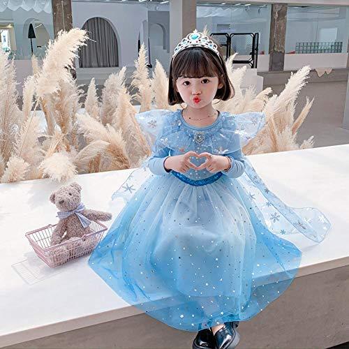 Ropa de Vestir para niñas Disfraces para Halloween Vestido de Princesa de Manga Larga de Malla 2020 otoño, Falda de espectáculo de Halloween-140cm
