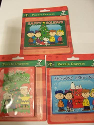 Peanuts Snoopy Puzzle Erasers  Complete Christmas Collection by Peanuts