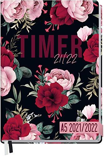 Häfft-Timer 2021/2022 A5 [Bold Flower] Hardcover Schüler-Kalender, Schüler-Planer, Schulplaner, Studienplaner/Semesterplaner für Oberstufe, Ausbildung oder Studium | nachhaltig & klimaneutral
