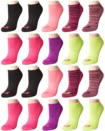Avia Women's Athletic Performance Cushioned No-Show Low Cut Ankle Socks (20 Pack), Pink Asst, Size Shoe Size: 4-10