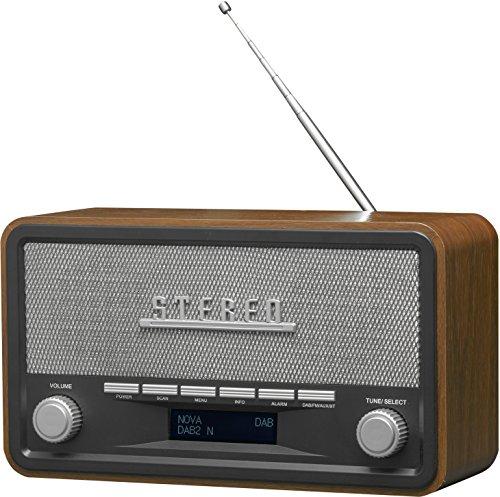 Denver DAB-18 - Radio analogica e digitale, DAB+, FM. Bluetooth. Altoparlanti da 4 W. Schermo LCD. Nero, Legno