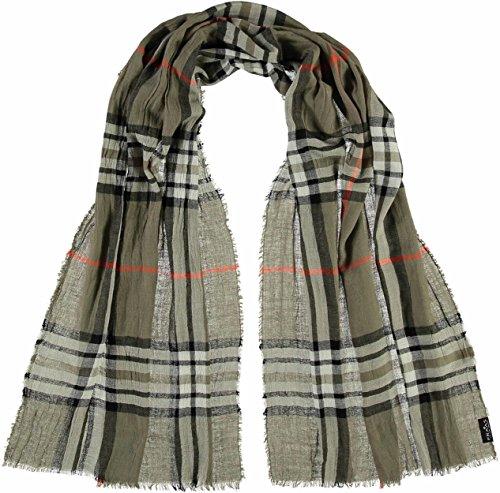 FRAAS elegante Damen-Stola mit Karo-Muster - karierter Schal für Herbst und Winter - warmes Hals-Tuch in verschiedenen Farben - modische Stola kariert Khaki