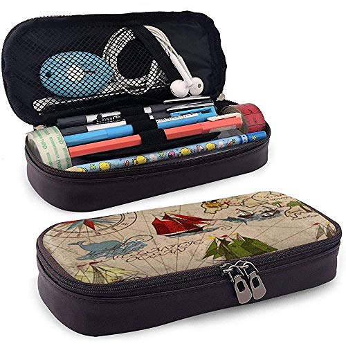Whale Ships Compass PU Leather Pen Pen Bag 20 * 9 * 4 cm (8X3.5X1.5 Inches) Pouch Case Holder College Coin Purse Cosmetic Bag