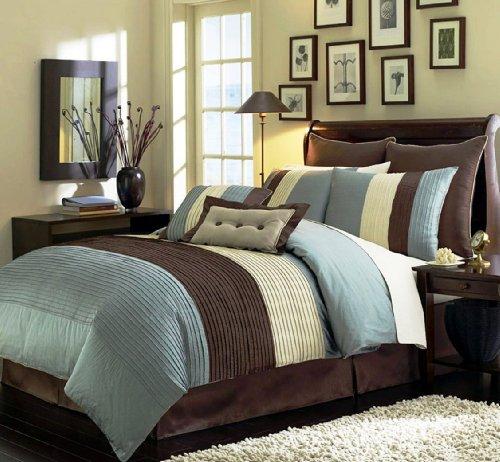 Casa De Andrea Milano Pleated Comforter Set, 8-Pcs, King, Blue