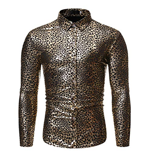 WINJUD Men's Dress Shirts Stamped Long Sleeve Shirt Fashion Printed Long-Sleeved Blouse(Gold,M)
