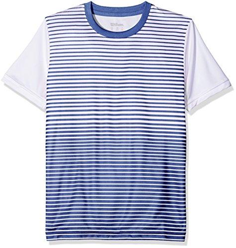 Wilson Enfant T-shirt de Tennis à Manches Courtes, B TEAM STRIPED CREW, Polyester, Bleu (Blue Depths)/Blanc, Taille L, WRA767203