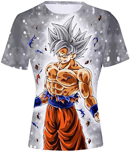 FLYCHEN T-Shirt Colorful Impreso en 3D Dragon Ball para Hombre Super Saiyan Cosplay Wu Camiseta Goku - Sombreros de Plata - M