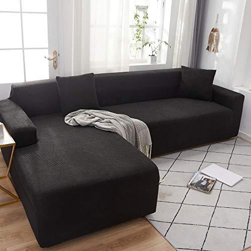 B/H Lavable/Antiácaros Funda de sofá,Funda de sofá de Felpa de Color Puro, Funda de sofá Simple elástica-Negro_90-140cm,Sillón Elastano Fundas de Sofá