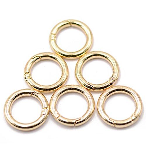 6pz Moschettone Portachiavi Anello Metallo A Clip Dia. 25mm Colore Oro