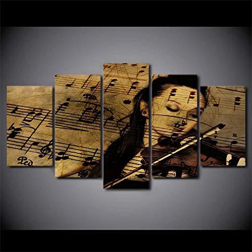 Yywife Cuadro en Lienzo 200x100cm 5 Piezas Cuadro sobre Lienzo Partituras de violín Tejido no Tejido Impresión en Lienzo Decoracion Pared Regalo Creativo