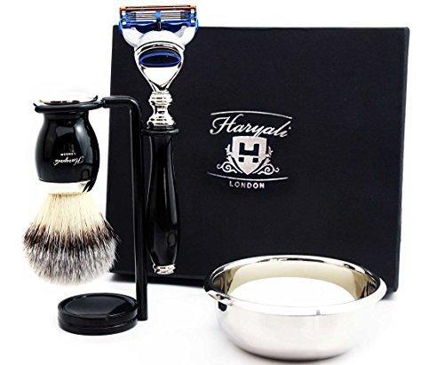 Best set da barba regalo per uomini (cartuccia a 5 spigoli compatibili, pennello, ciotola, supporto e scatola di marca
