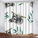 Salón Cortinas Opacas Koala de hojaCortinas Plisadas a Lápiz Cortinas Opacas de Reducción de Ruido para Dormitorio Sala de Estar Oficina del Hotel 230(W) x255(H) cm