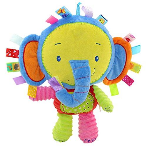 Happy Cherry Peluche con Texturas Etiquetas Sonajero Muñeca de Animal Infantil Juguete Multicolor con Sonidos para Bebés Niños Niñas Recién Nacidos - Elefante