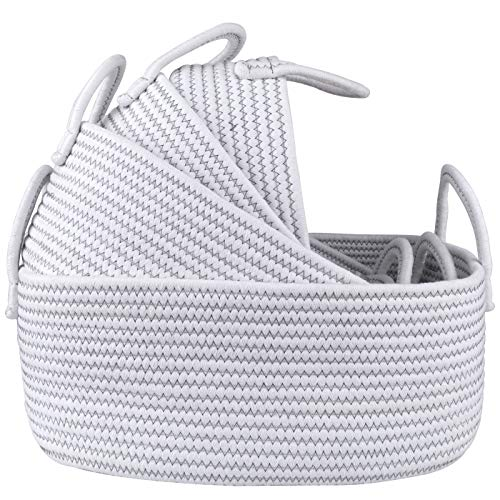 LA JOLIE MUSE 15 Inch Cotton Rope Woven Storage Basket Set of 4, Stackable Multipurpose Organizer Bins with Handles, White with Zig Zag Line Pattern