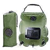Qdreclod Campingdusche Solardusche Tasche, 20L Tragbare Solar Gartendusche Outdoor Warmwasser Dusche Reisedusche mit Duschkopf, Schlauch, Griffstange und Seil zum Aufhängen (20L-Grün)