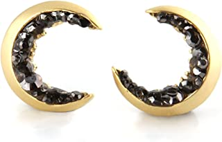 Crescent Moon and Black CZ Earrings