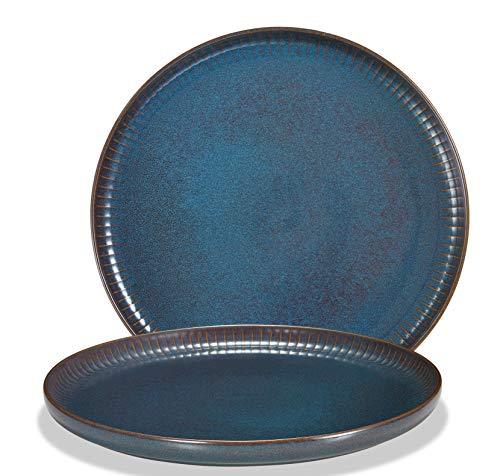 Supremery Juego de 2 platos llanos de cerámica, platos grandes de pizza, platos de desayuno y de pan de 26,3 cm, aptos para lavavajillas y microondas, color azul