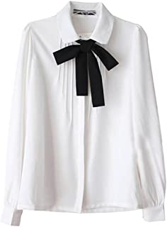 Etosell Lady Bowknot Baby Peter Pan Collar Shirt Womens Long Sleeve OL Button-Down Shirts White Blouses