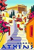 Vintage-Blech-Poster, Athen, Griechenland, Straße,