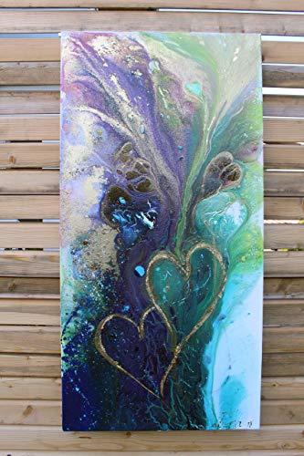 Acrylbild abstrakt auf Keilrahmen ♥ Herz an Herz ♥ 50cmx100cm L handgefertigtes Unikat von ena-art-at