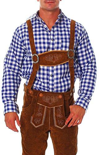 Fashion4Young Herren Trachtenhemd Karohemd Trachten Hemd Kariert Lederhose Fit Langarm (S, Blau Weiß)