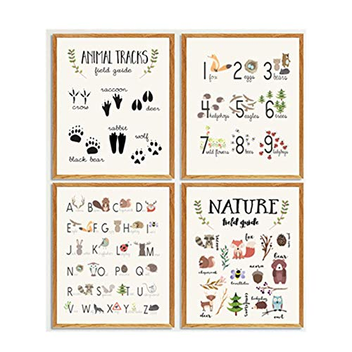 Nursery Wall Art Woodland Animal Educational Poster Alphabet Learning Tracks Guide Cartoon Print Canvas Painting Kids Room Decor 30x40cmx4 No Frame