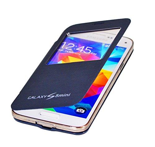 Flip Cover copertina caso con finestra Flip Case casi per Samsung Galaxy S5 Mini in blu scuro di PhoneStar
