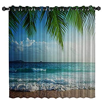 Ocean Curtains for Bedroom Room Darkening Blackout Curtain for Living Room Thermal Insulated with Grommet Window Curtain Tropical Island with The Palm Leaves and Clear Sea Beach Theme 52 by 84 Inch