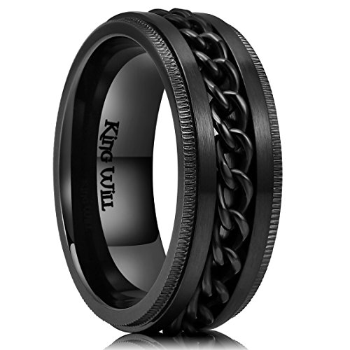 King Will Intertwine 8mm Mens Black Stainless Steel Ring Center Chain Spinner Ring Wedding Band 14
