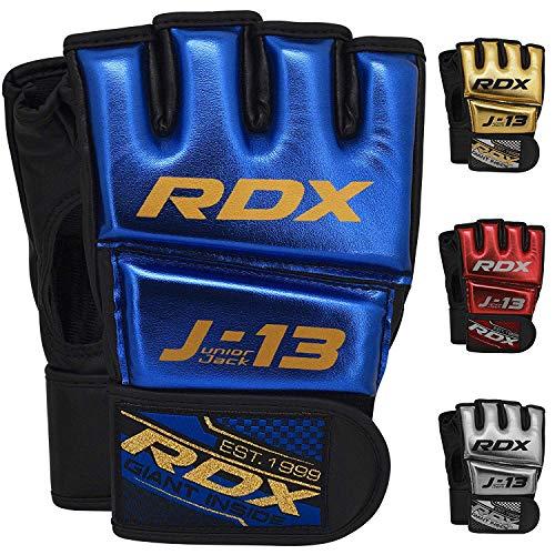 RDX Bambini MMA Guanti per Arti Marziali Grappling Allenamento | Junior Metallic Cuoio Sparring Guantoni | Grande per Kids Kickboxing, Muay Thai, Comb