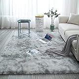Yehapp Alfombra de pelo sintético para salón, dormitorio, alfombra mullida, color marrón/gris/rosa/caqui/azul, alfombra de salón suave